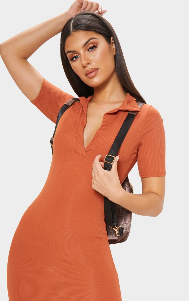 Rust Ribbed Polo Bodycon Dress 4