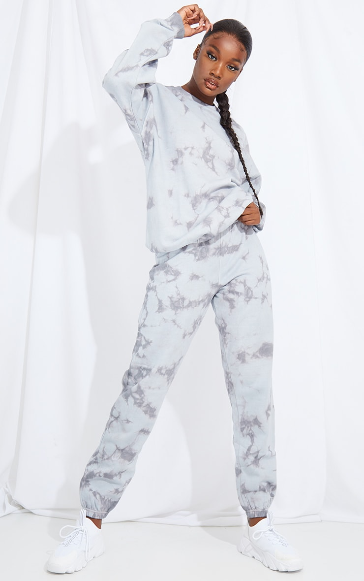 Tall Grey Oversized Tie Dye Joggers 1