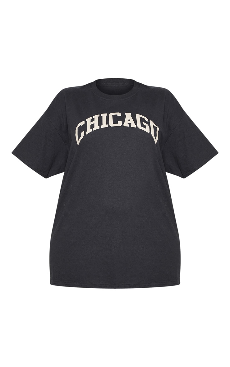 Plus Black Chicago Oversized Slogan T Shirt 3