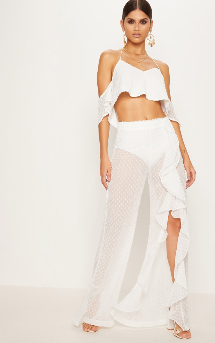 White Dobby Mesh Frill Detail Wide Leg Pants 1
