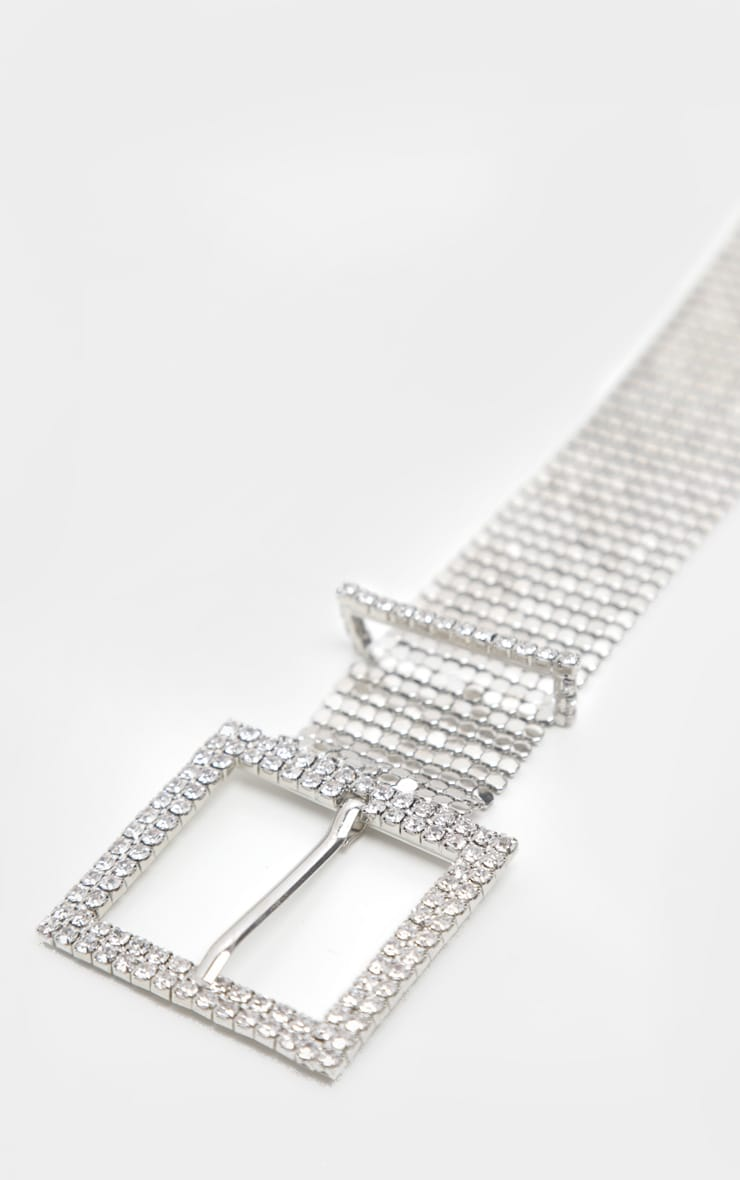 Silver Diamante Buckle Chainmail Belt 2