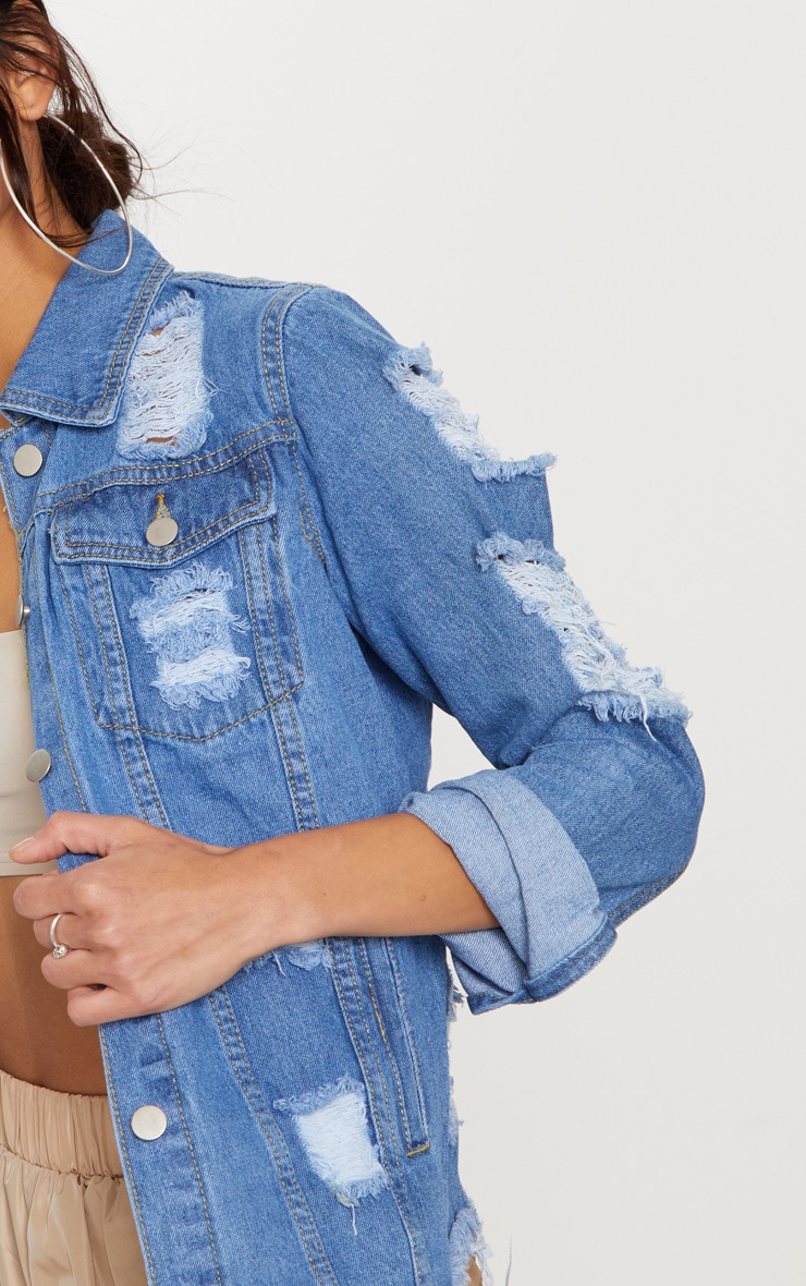 Abegaila Mid Wash Distress Oversized Denim Jacket 5