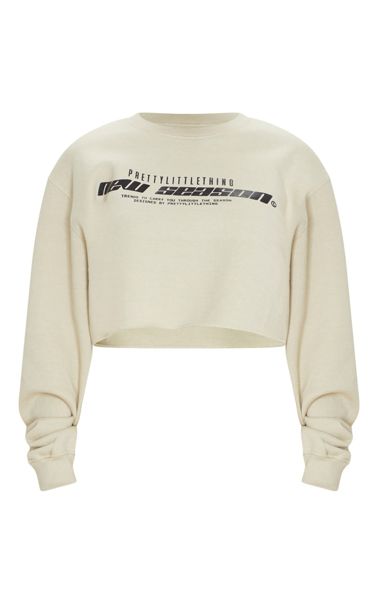 PRETTYLITTLETHING Sand New Season Slogan Cropped Sweater 5
