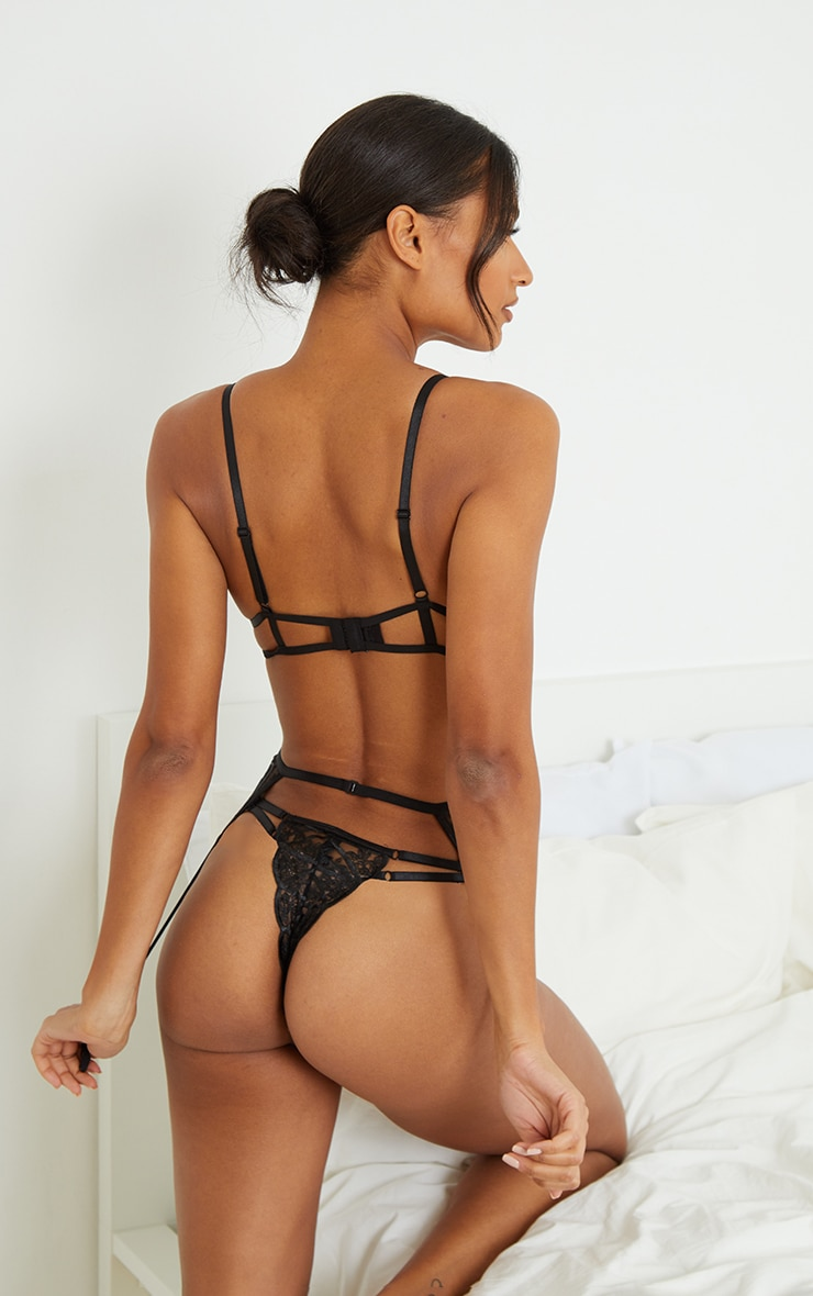 Black Embroidered Underwired Mesh 3 Piece Lingerie Set 2