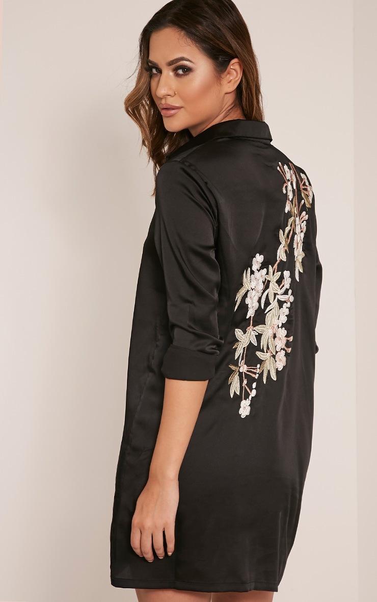 Lizzey Black Floral Embroidered Satin Shirt Dress 1