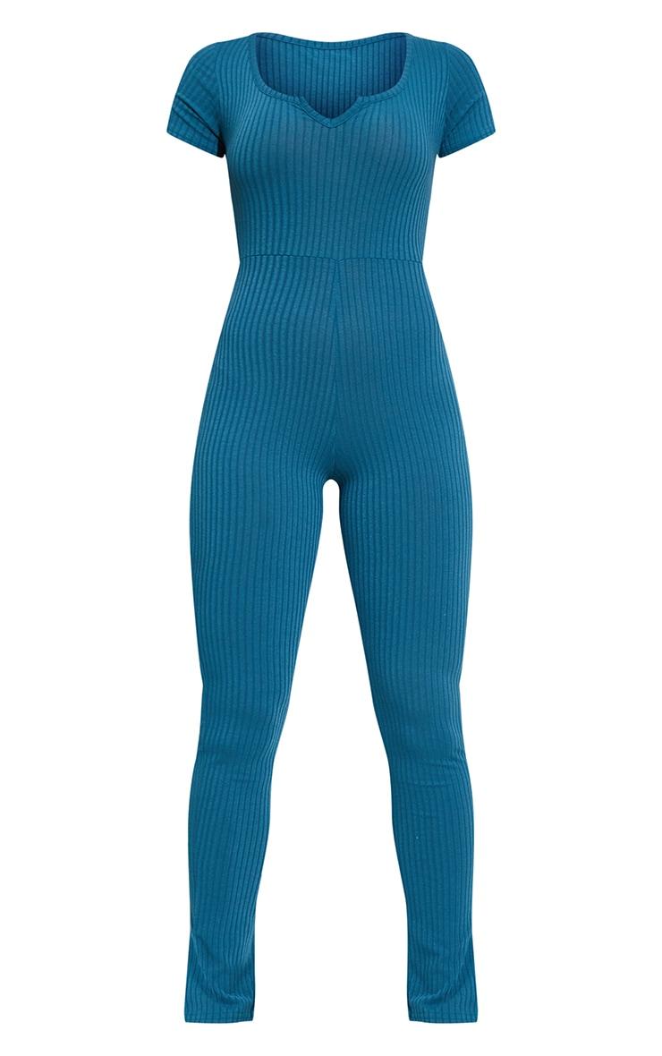 Petrol Blue V Detail Short Sleeve Jumpsuit 5