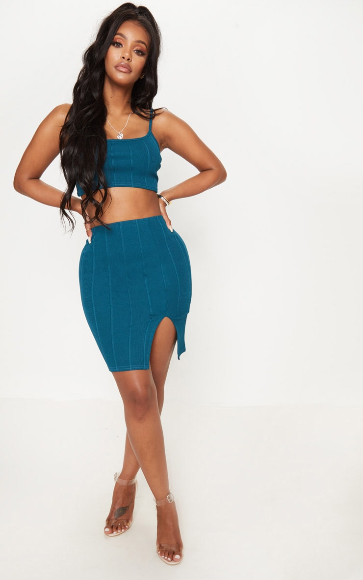 Shape Teal Bandage Bodycon Skirt 1