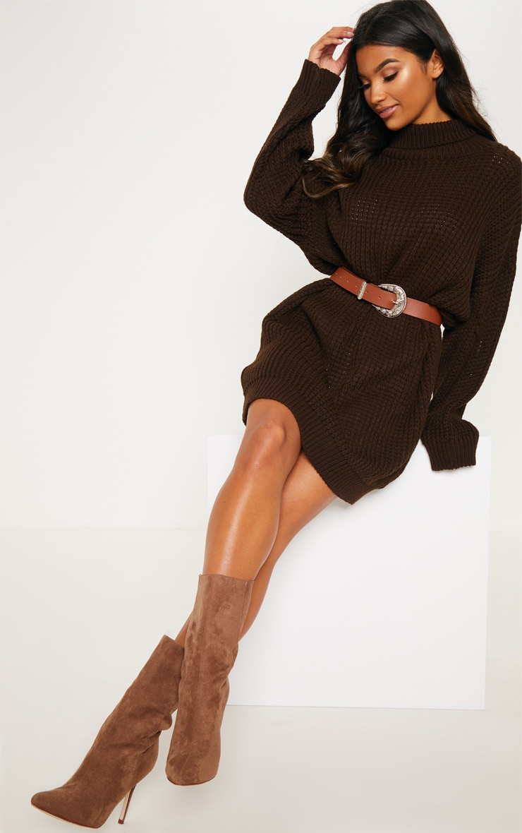 Brown Oversized High Neck Knitted Jumper Dress  1