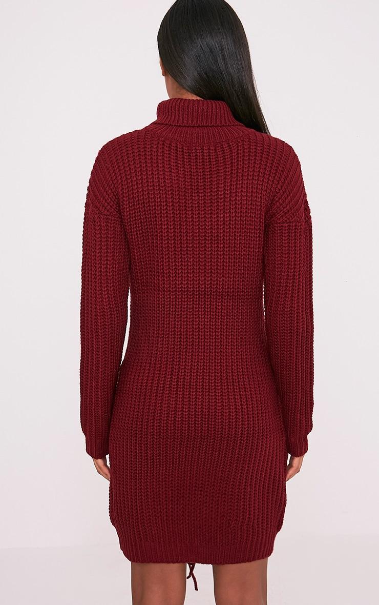 Josalinda robe col roulé à lien à nouer sur le devant en maille rouge 2