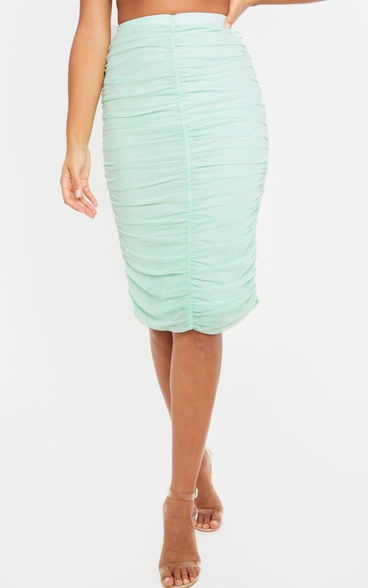 Mint Mesh Ruched Midi Skirt 2