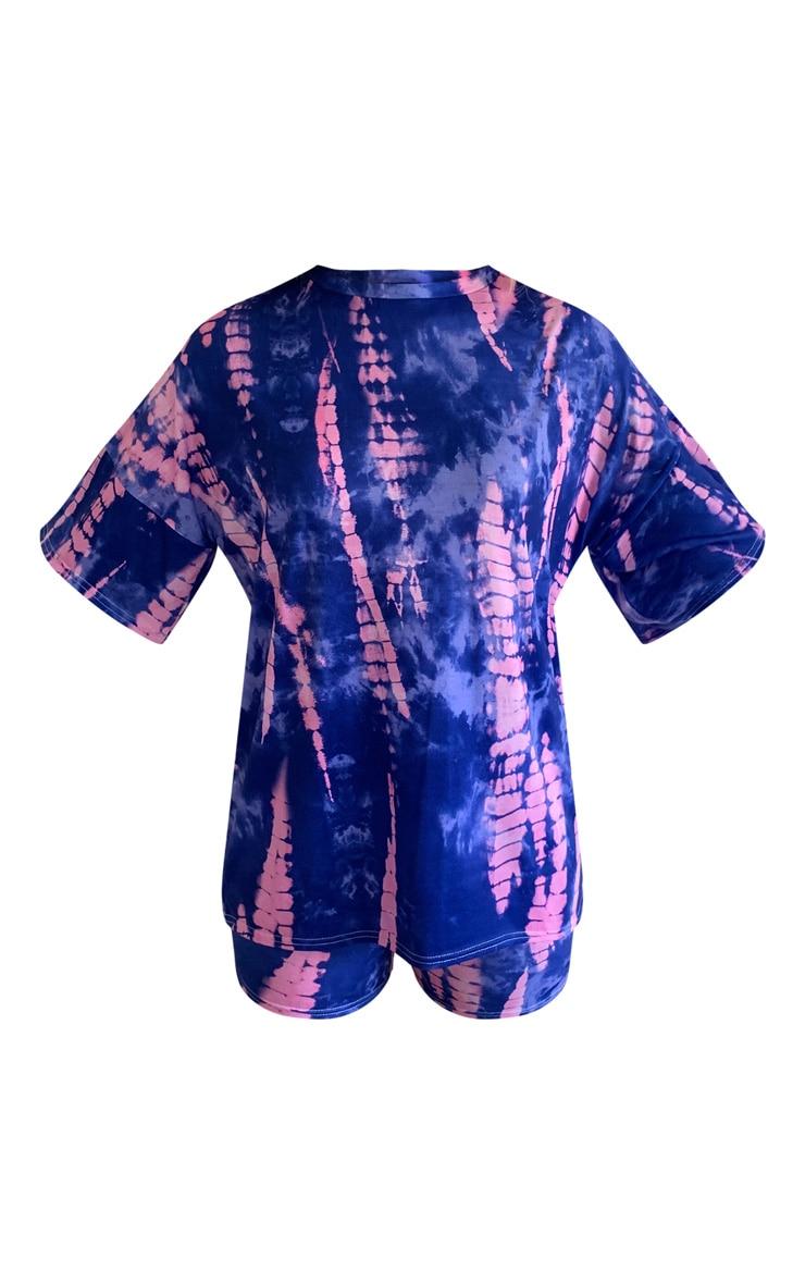 Blue Tie Dye Printed Bike Short PJ Set 5