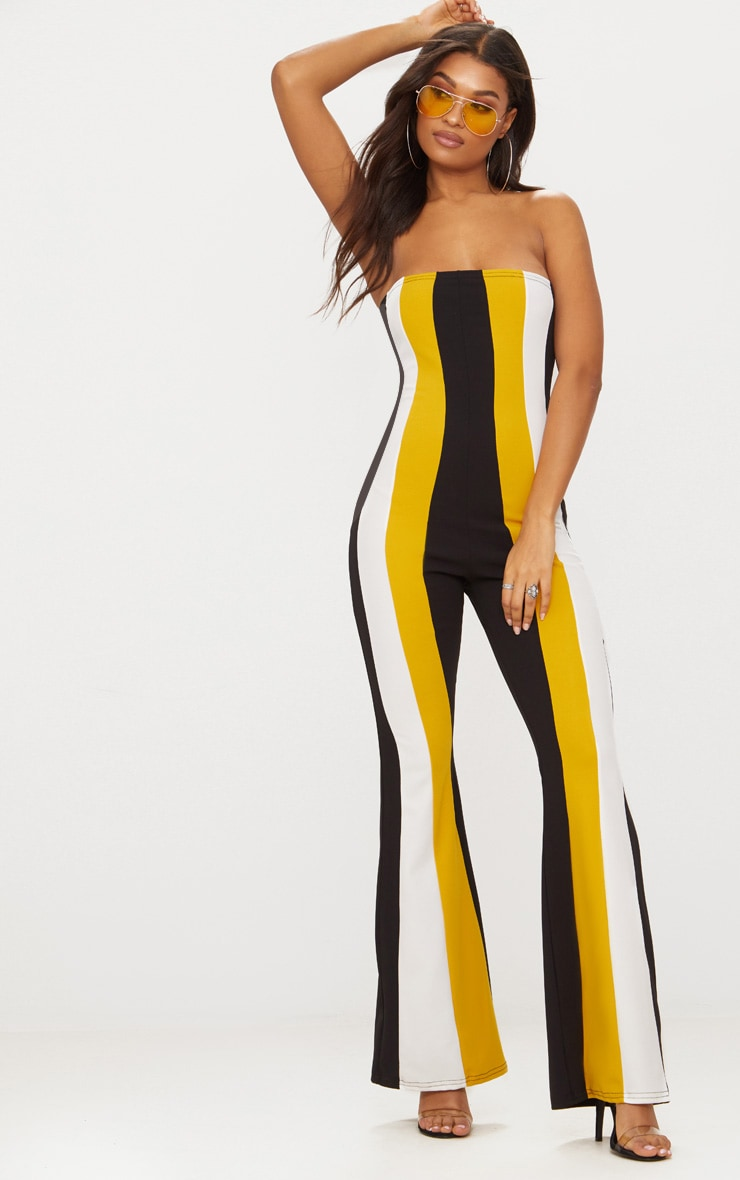 Yellow Crepe Bandeau Colour Block Jumpsuit 1