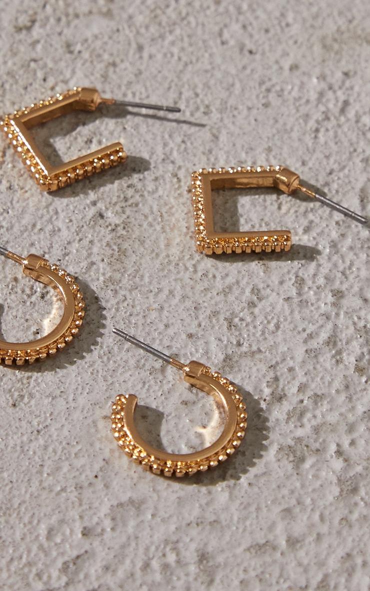 Gold Mini Textured 2 Pack Hoop Earrings 3