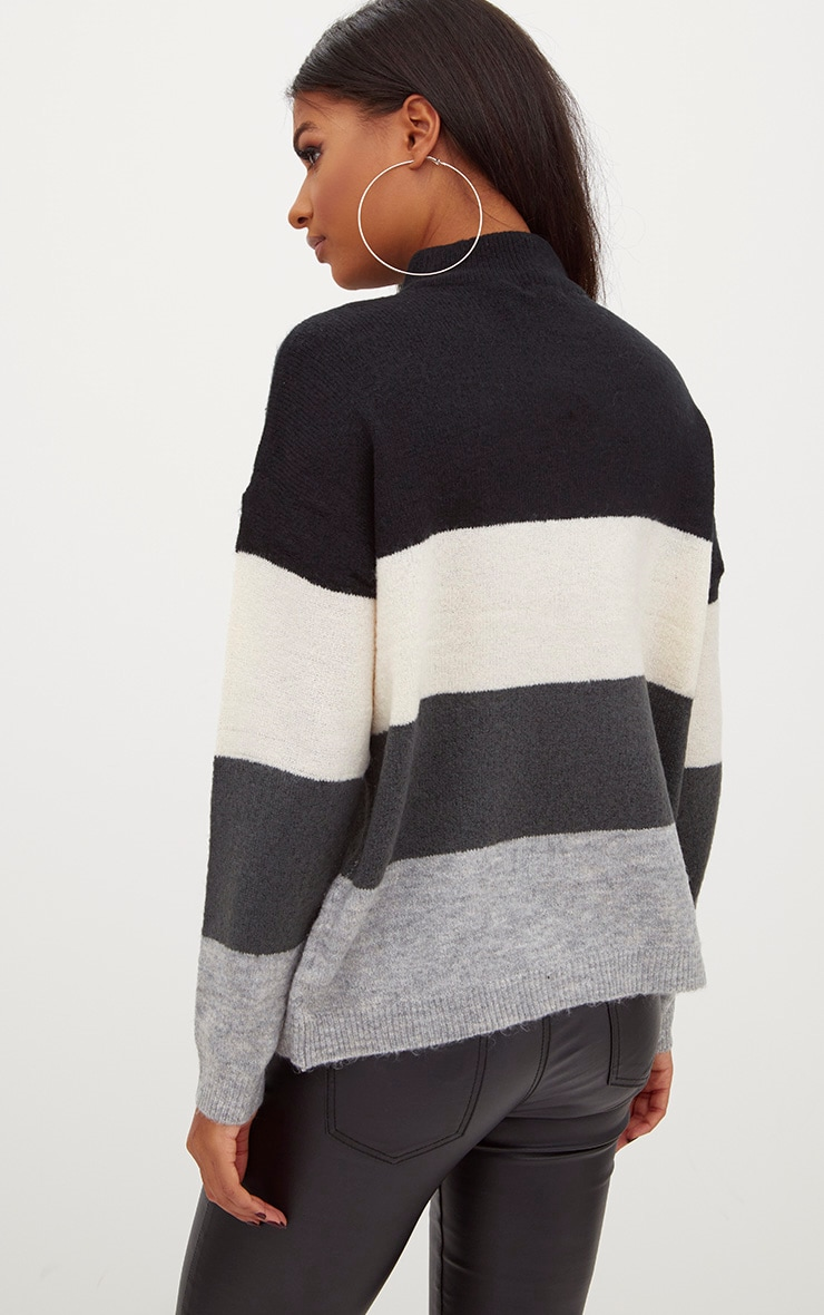 Black Funnel Neck Stripe Jumper 2