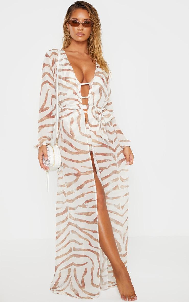 Cream Tiger Tie Waist Kimono 1