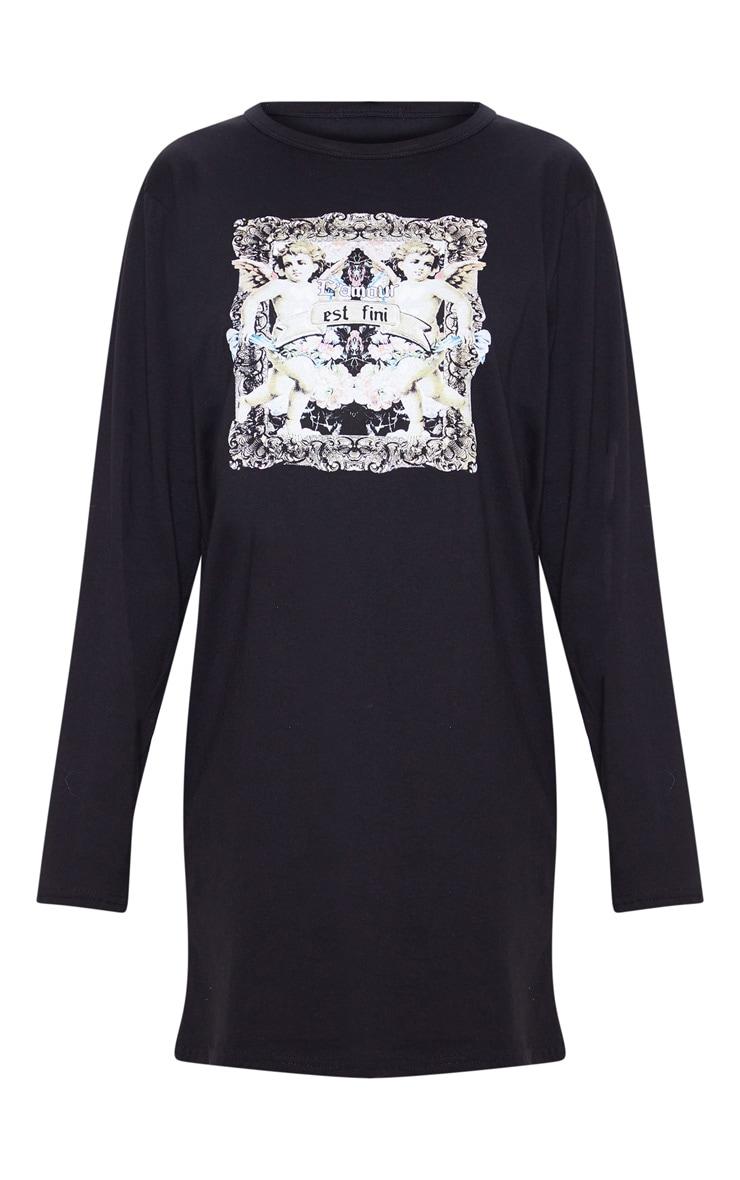 Black Cherub Slogan Print Long Sleeve T Shirt Dress 3