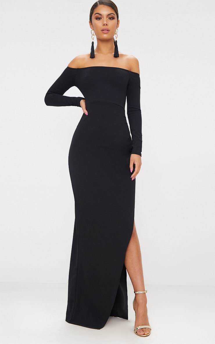 Black Wrap Over Long Sleeve Bardot Maxi Dress