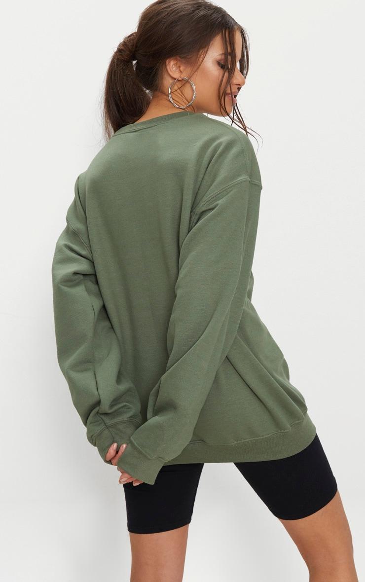 PRETTYLITTLETHING Recycled Khaki Oversized Sweatshirt 2