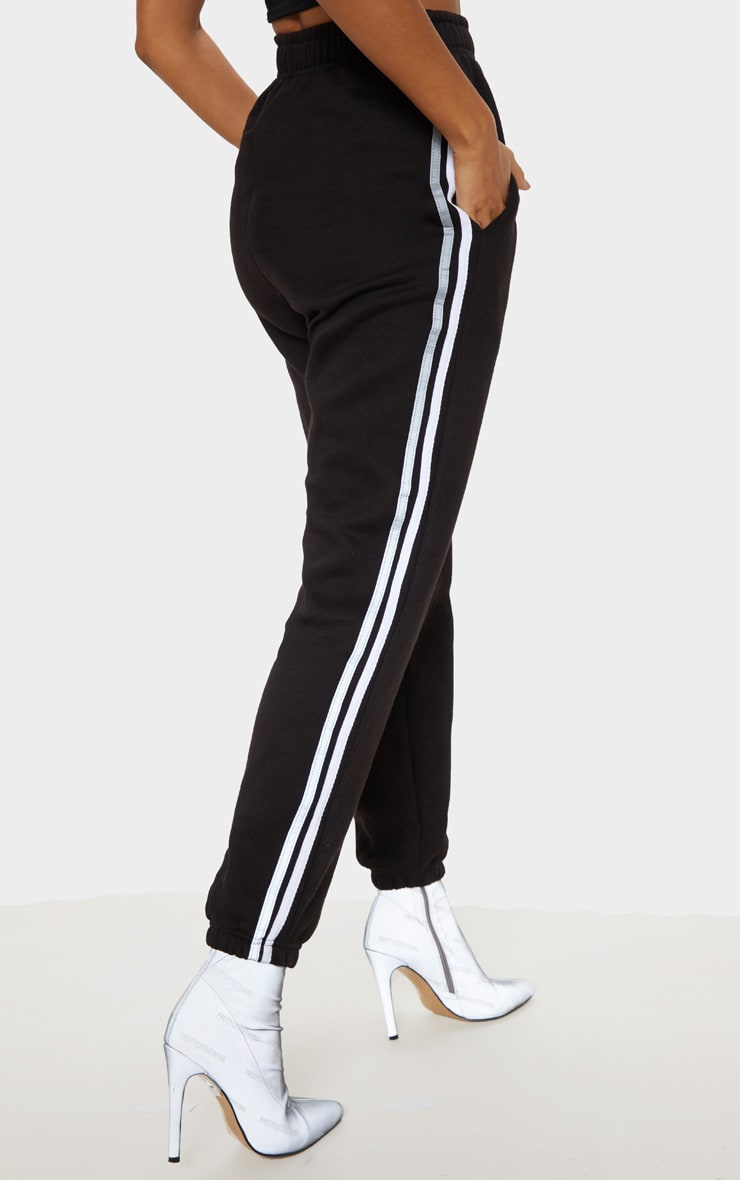 Black Reflective Side Stripe Cuffed Track Pants 4