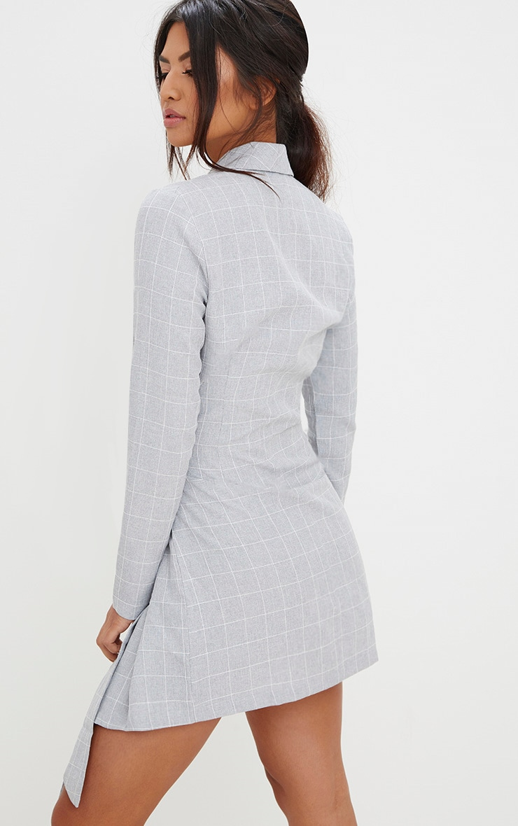 Grey Checked Blazer Dress 2