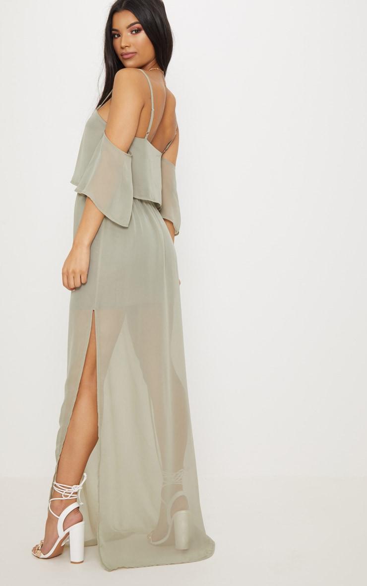 Sage Green Chiffon Layered Cold Shoulder Maxi Dress 2