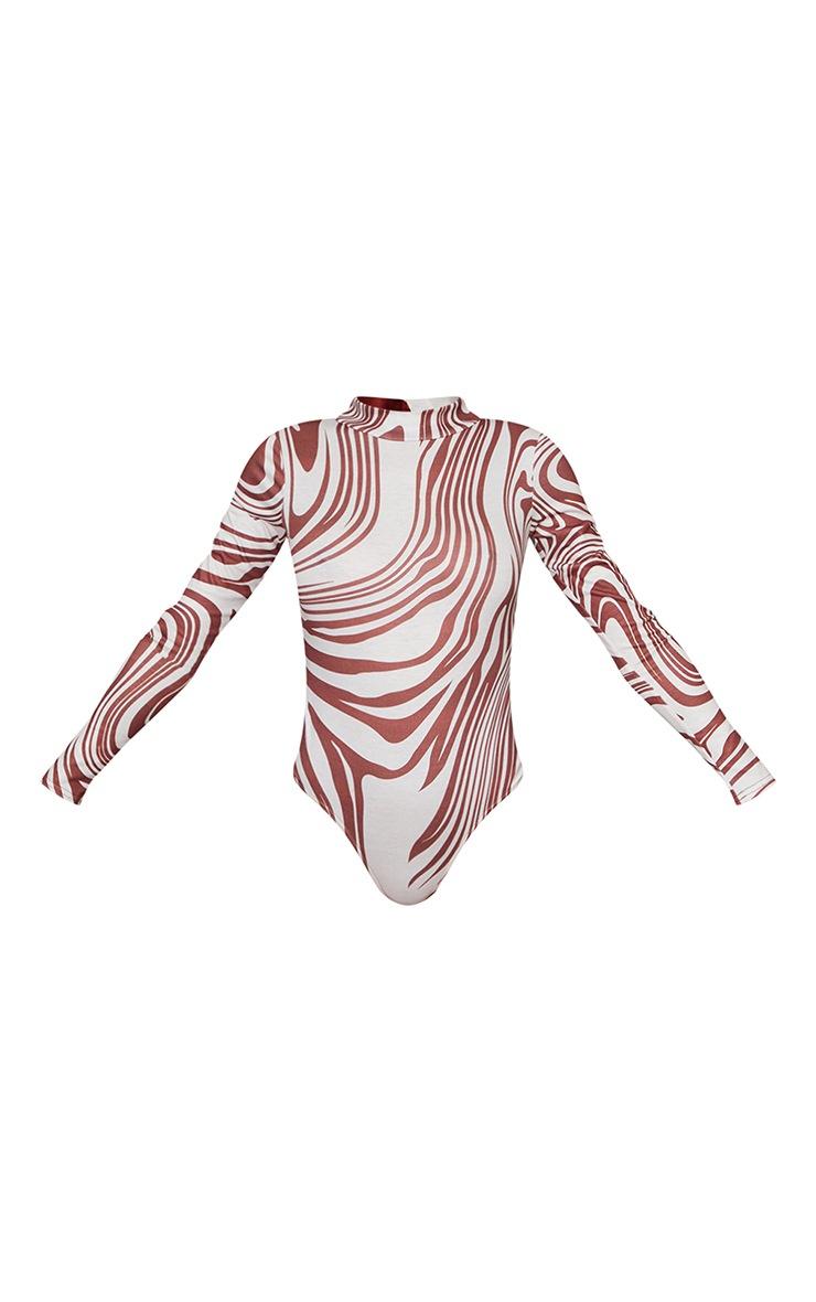 Brown Zebra Swirl Printed High Neck Long Sleeve Bodysuit 5