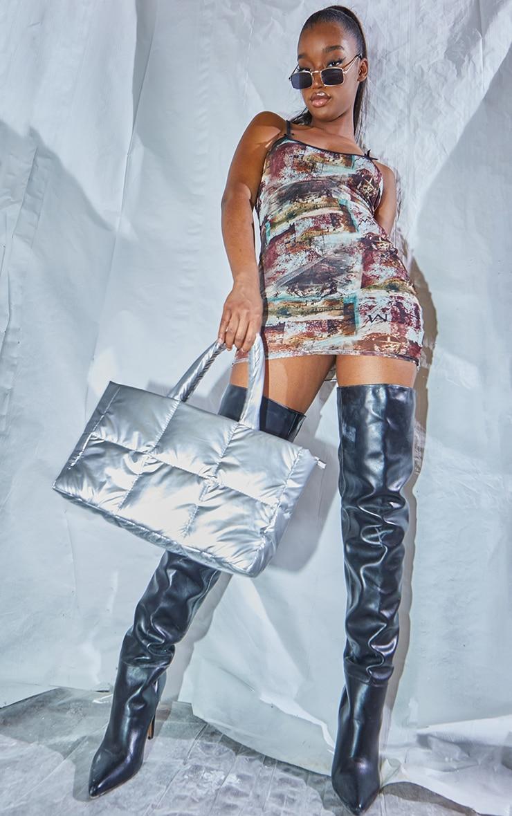 Multi Grunge Print Strappy Bow Detail Printed Mesh Bodycon Dress 3