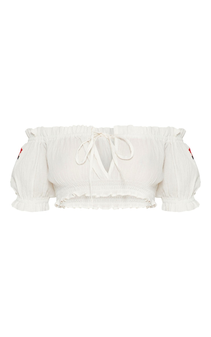 White Cheesecloth Rose Applique Bardot Crop Top  3