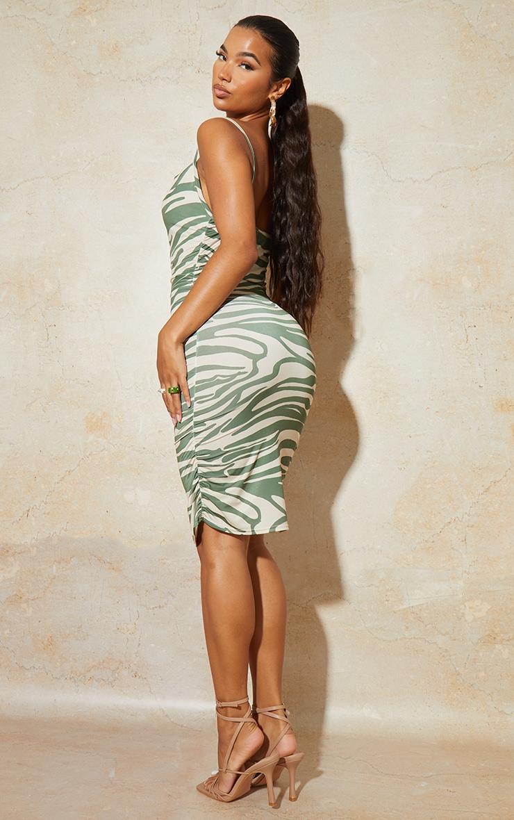 Green Zebra Print Strappy Ruched Bodycon Dress 2