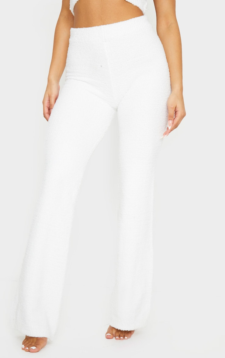 Cream High Waist Chenille Flared Trousers 2