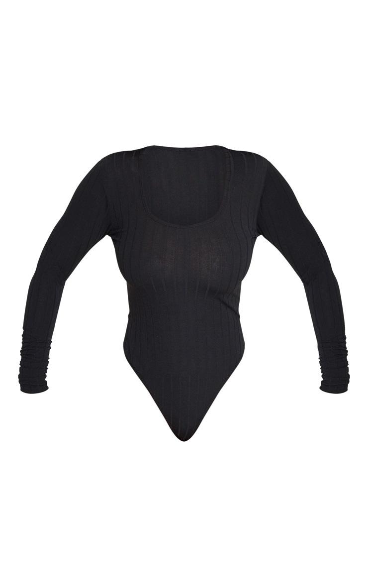 Body en jersey côtelé noir à encolure carrée et manches longues 5