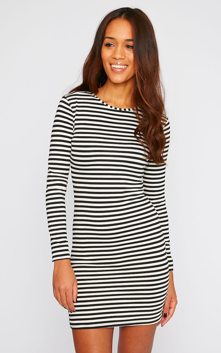 Carolina Monochrome Stripe Long Sleeve Jersey Mini Dress 4