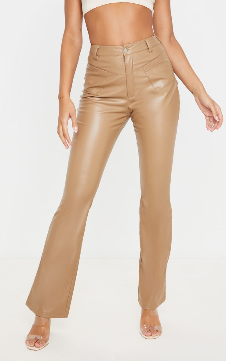 Camel Faux Leather Pocket Detail Straight Pants 2