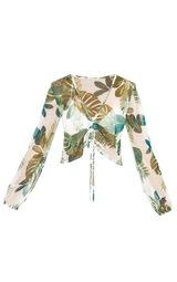 Cream Palm Printed Mesh Ruched Beachwear Crop Top 3