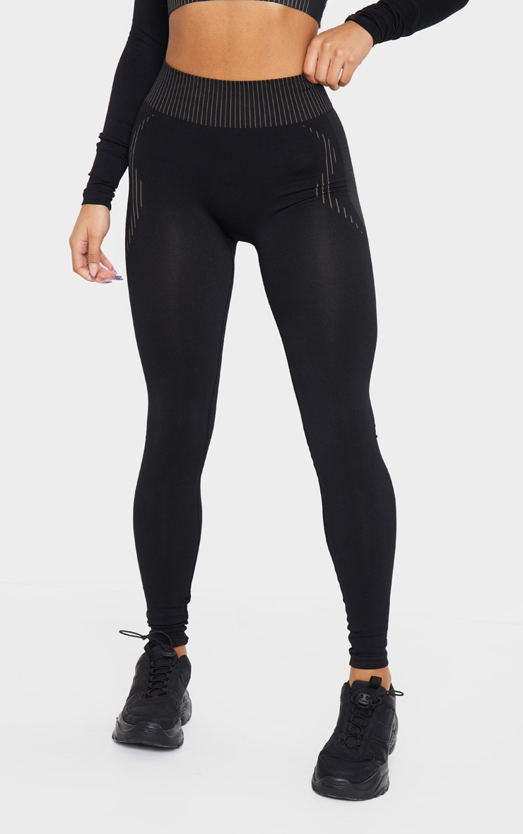 PRETTYLITTLETHING Black Contour Seamless Legging 2