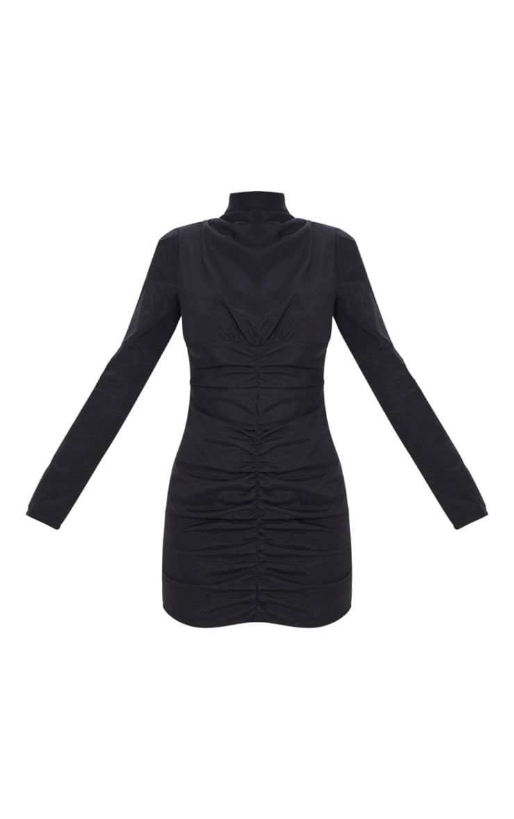 Black High Neck Ruched Front Bodycon Dress 5