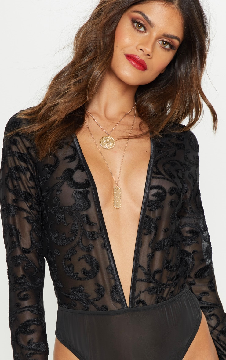 Black Devore Plunge Long Sleeve Bodysuit 6
