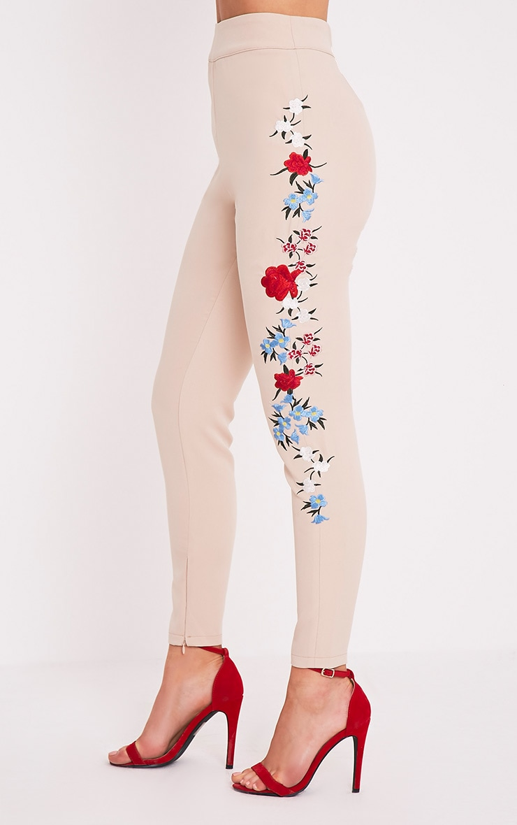 Kamari Nude Embroidered Skinny Trousers 4