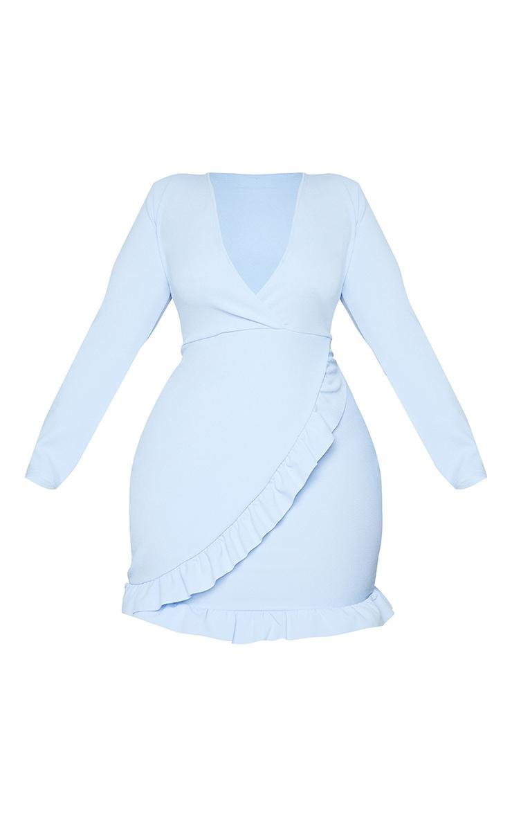 Plus Dusty Blue Ruffle Detail Wrap Dress 5