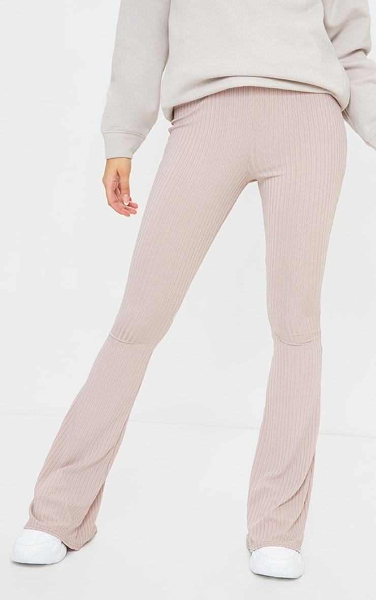 Mauve Ribbed Flared Pants 2