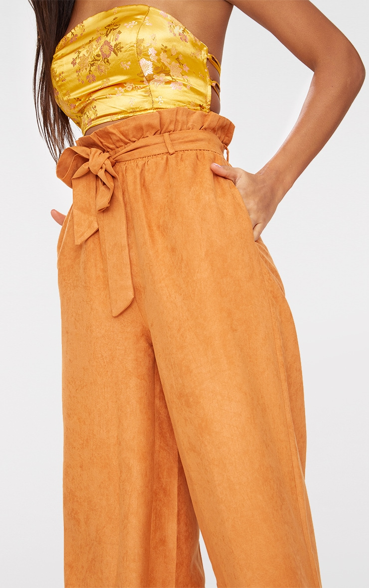 Tan Faux Suede Paperbag Wide Leg Trousers 5