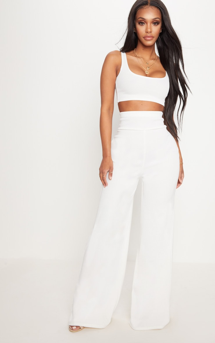 Shape White Bandage Scoop Neck Crop Top 4