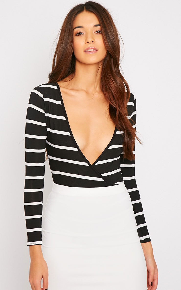 Tessa Black Stripe Wrap Over Plunge Bodysuit  1