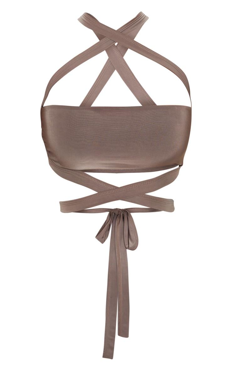 Mocha Slinky Tie Detail Bandeau Top 3