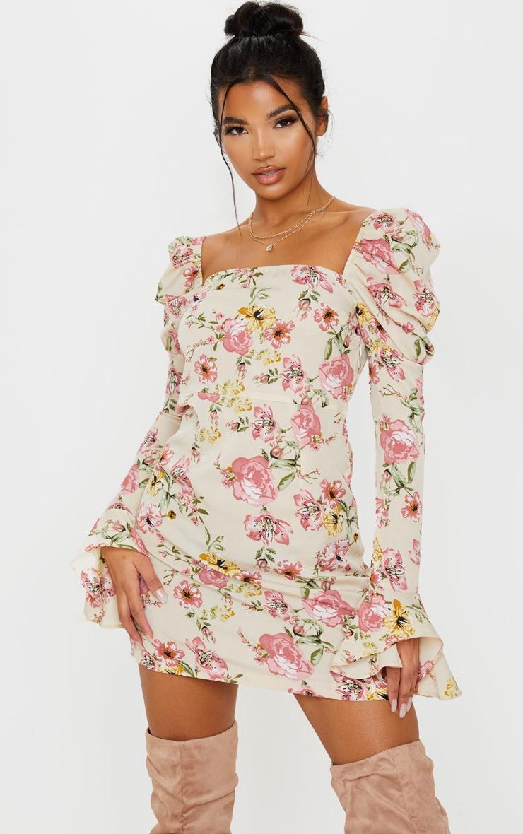 Beige Floral Print Puff Frill Sleeve Shift Dress 1