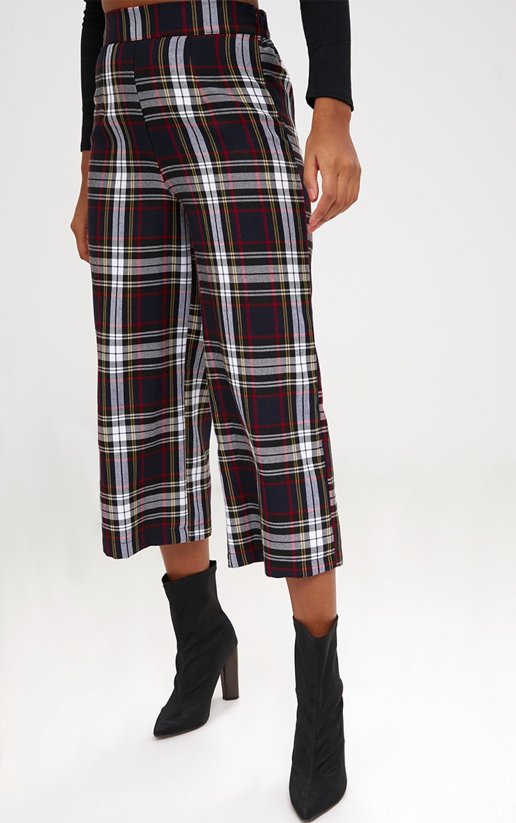 Black Check High Waisted Culottes 5