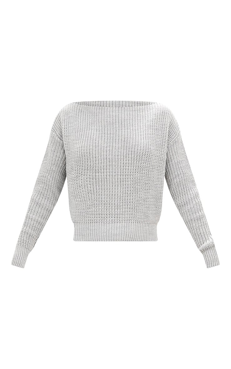 Christiana Grey Mixed Knit Slash Neck Crop Sweater 3