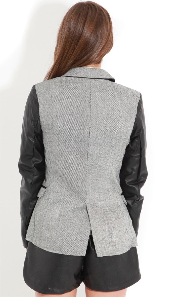 Lizzie Grey PU Sleeve Blazer 2