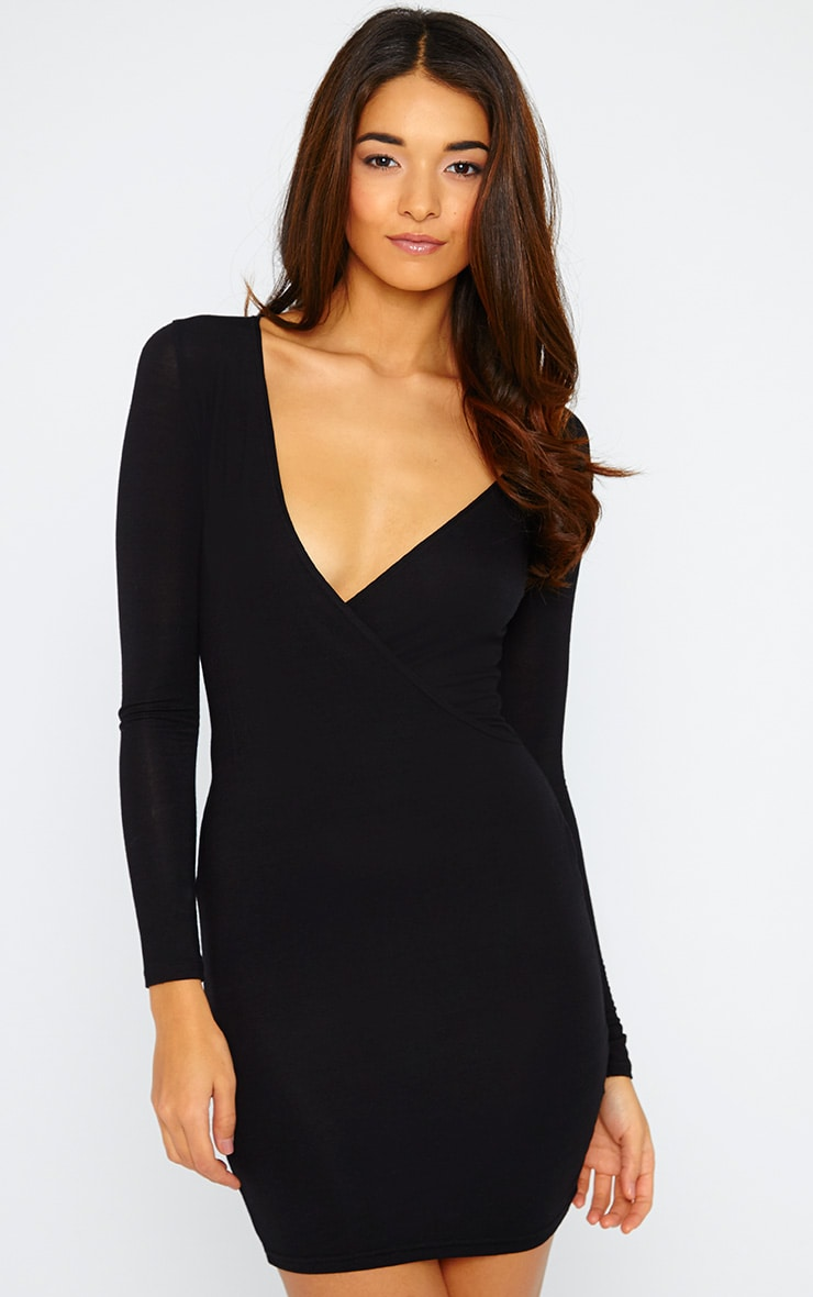 Basic Black Wrap Dress 1