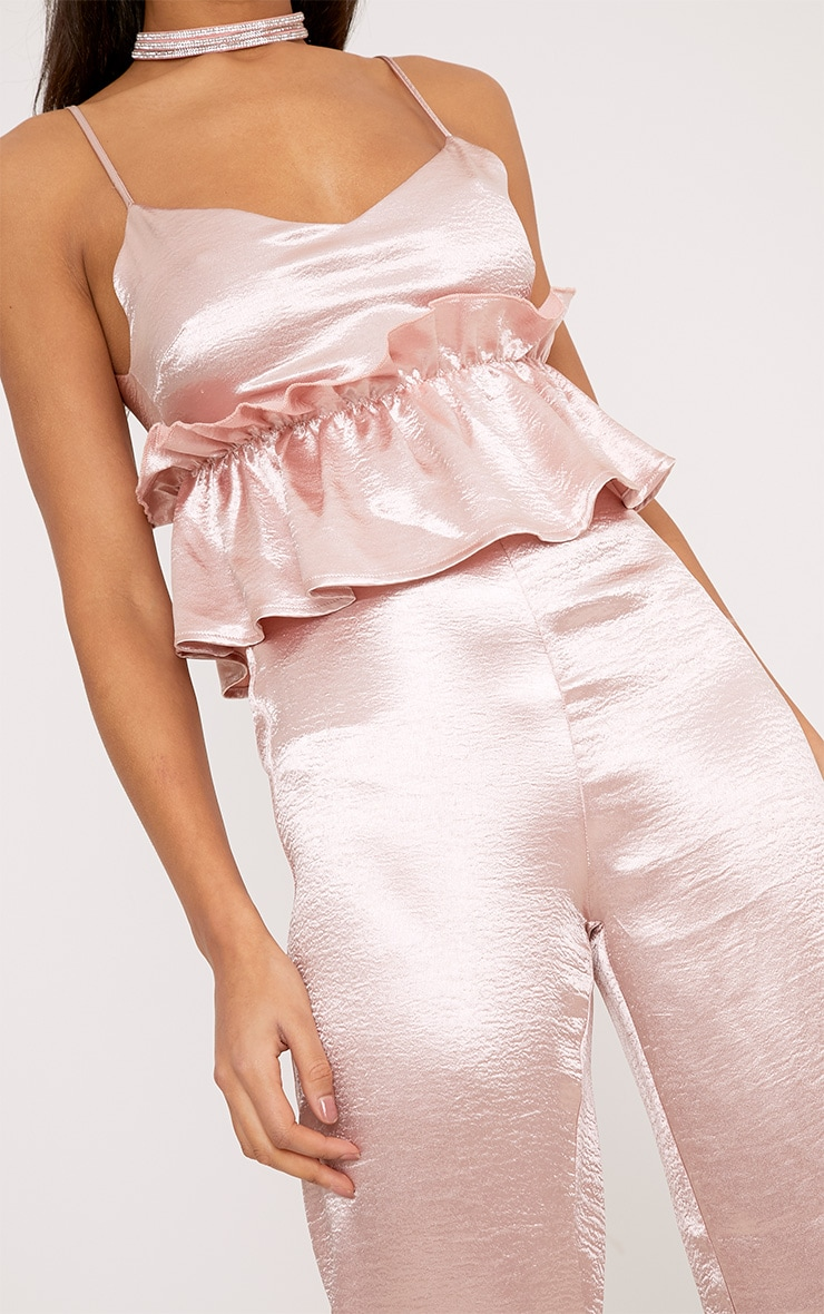 Abi Pink Hammered Satin Frill Middle Jumpsuit 5